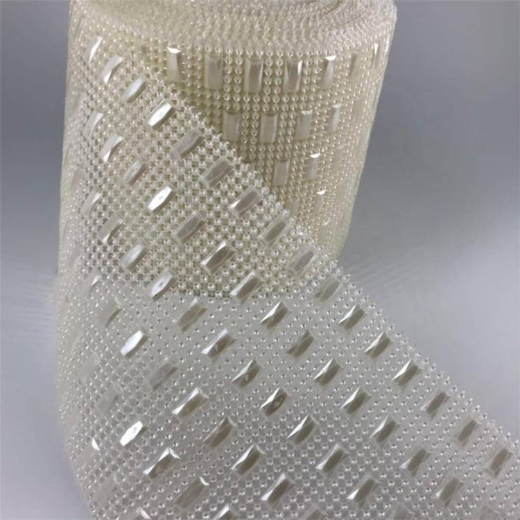 Custom and Wholesale 24 Row White Pearl And Rhinestone Mesh Trimming