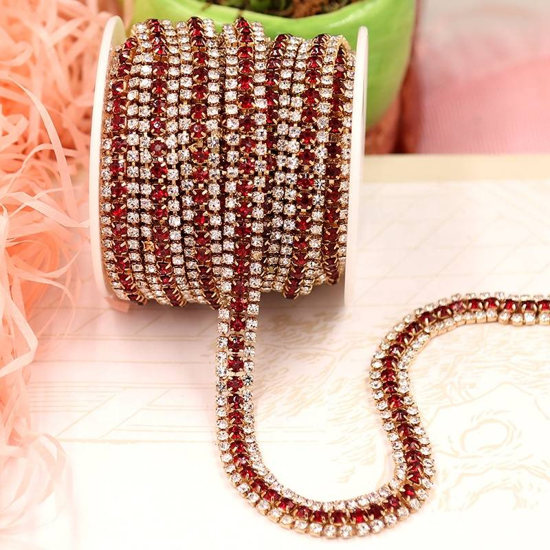 Wholesale Factory Crystal Rhinestone 3 Row Trimming Close Cup Chain for Jewelry Strass Finding Accessories