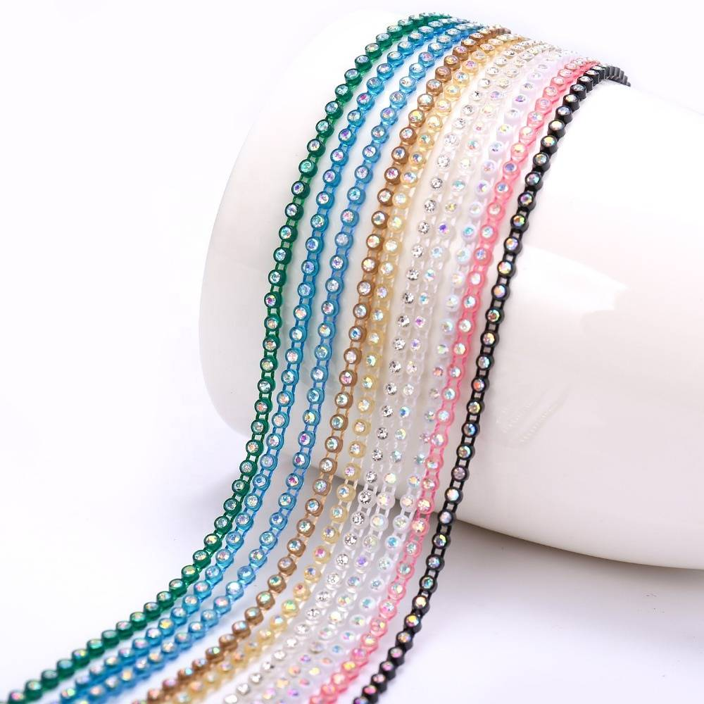 High Quality Plastic Rhinestone Appliques Banding Trimming,crystal rhinestone applique