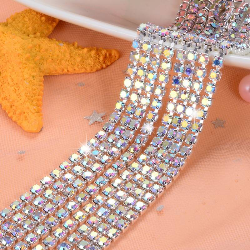 Crystal Gold Mixcolor Rhinestone Brass Cup Chain Stone for Decorate