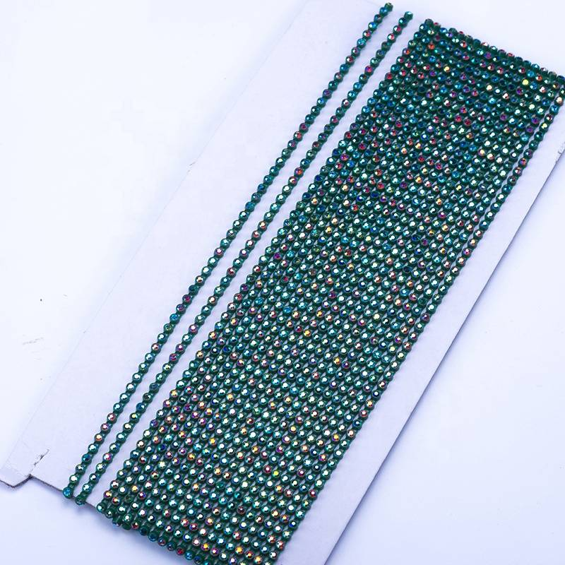 WHOLESALE FANCY SS8 AB CRYSTAL GREEN CUP CHAIN RHINESTONE BANDING TRIM FOR BRIDAL Featured Image
