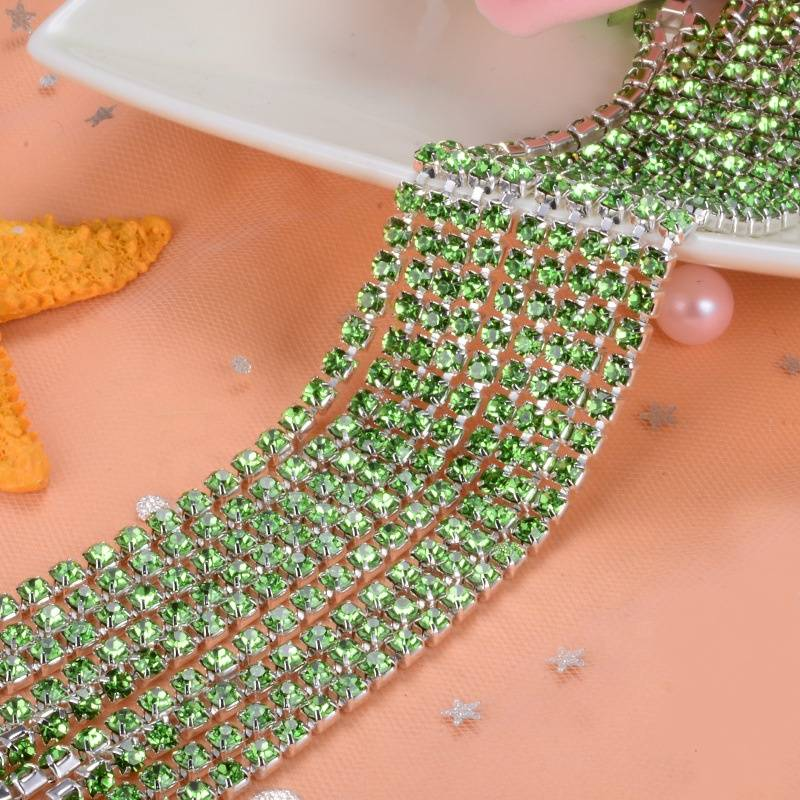 Factory Wholesale Fancy Crystal Cup Chain Rhinestone Trimming For Garment