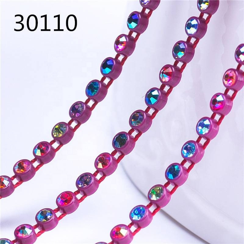 SS6 Mix Colors Plastic Rhinestone Cup Chain for Decorative for Dresses Decoration