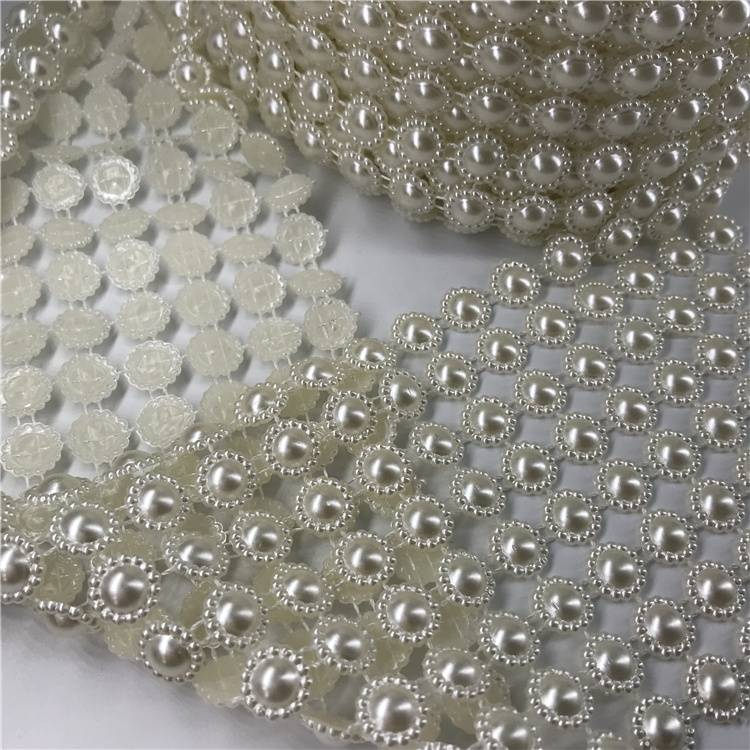 10 rows Plastic Rhinestone Mesh for Party Decoration Pearl Round
