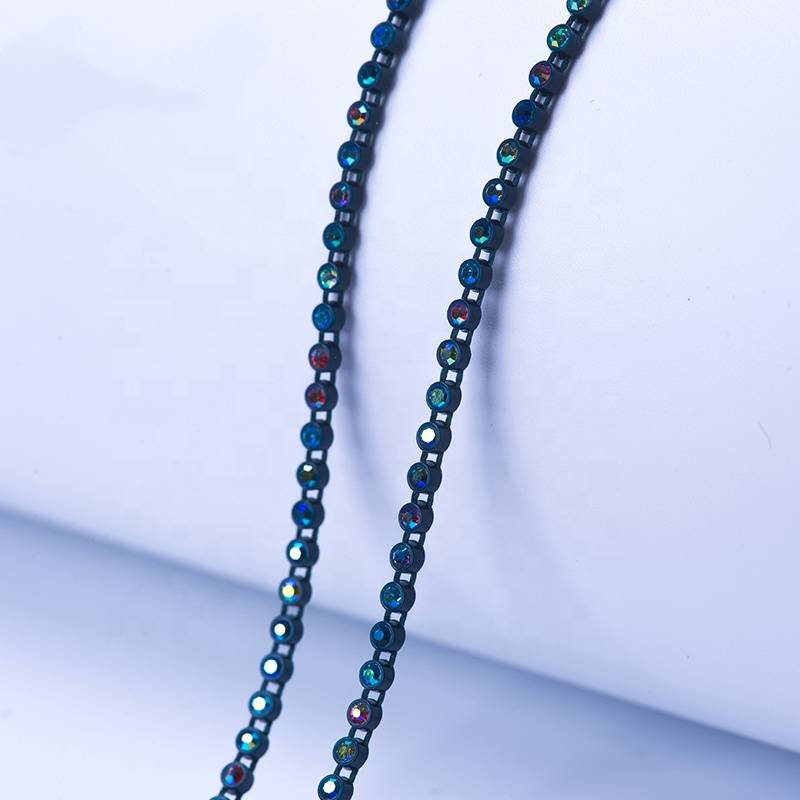 Plastic Rhinestone Beaded Trim Ab Color Rhinestones Banding for Dress in Guatemala Featured Image