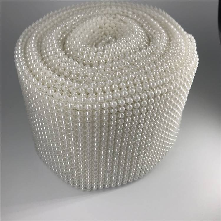 20 rows Plastic Rhinestone Mesh for Party Decoration Pearl Round