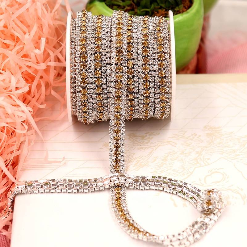 Wholesale Crystal Glass Beads Colors Crystal Rhinestone Cup Chain