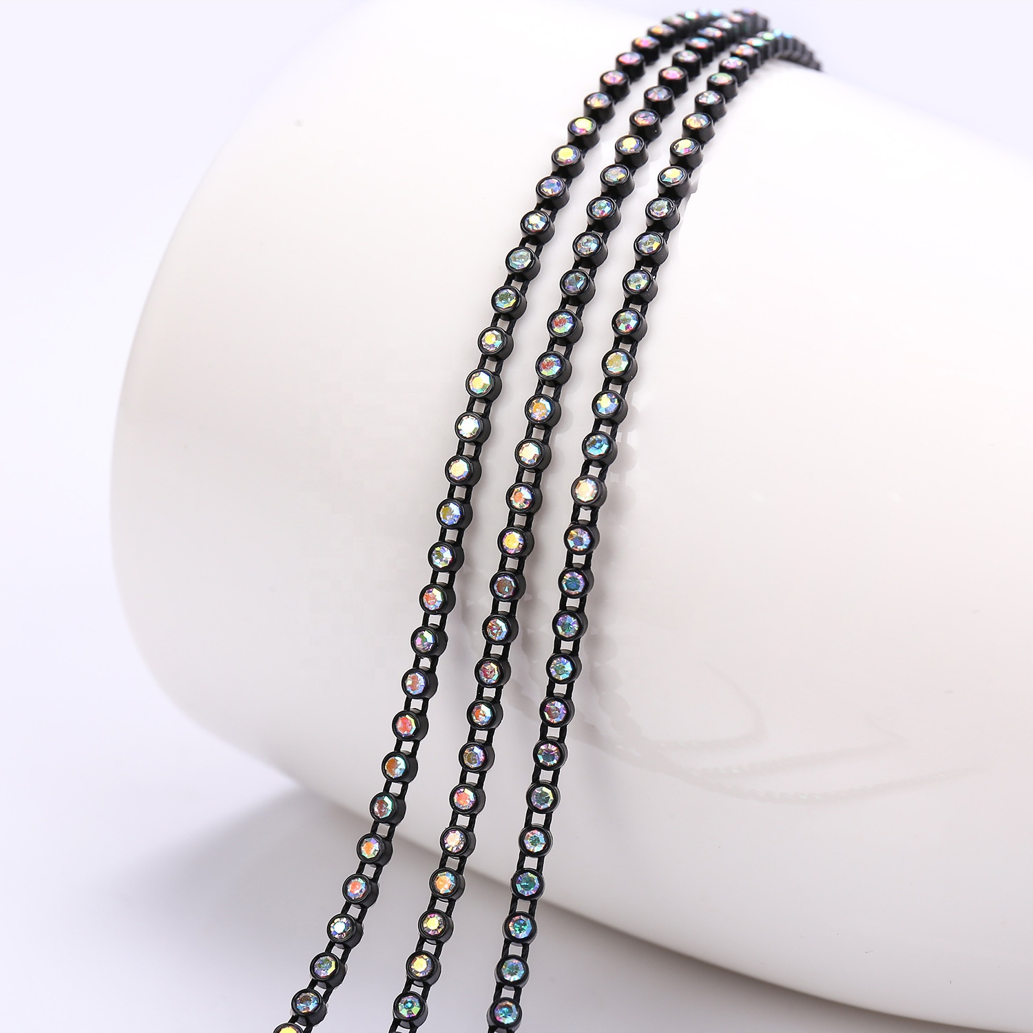 SS6 SS8 RHINESTONE BANDING CRYSTAL FANCY STONE CHAIN TRIMMING FOR DRESS