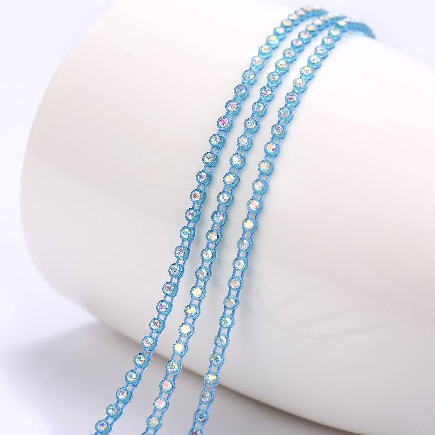Wholesale rhinestone trim for clothes shinning accessories rhinestone trimming banding for folk dress