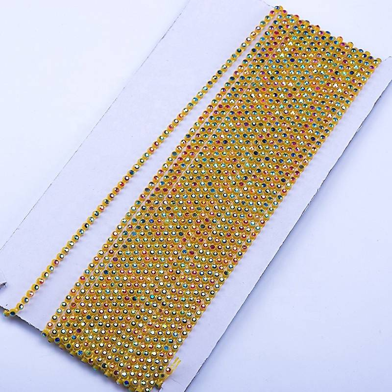 WHOLESALE FANCY SS8 AB CRYSTAL GREEN CUP CHAIN RHINESTONE BANDING TRIM FOR BRIDAL