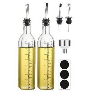 500ml Square Clear Glass Olive Oil Sauce Bottle with Spouting