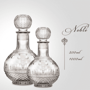 500ml 1000ml Embossed Whiskey Glass Decanter Bo...