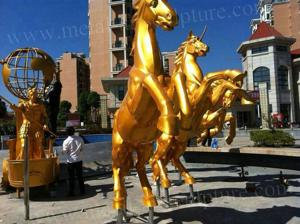 Bronze Running Horse Sculpture , Customized Painted Bronze Sculpture