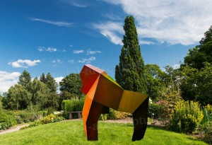 Abstract Welded Corten Steel Garden Sculpture As Urban Landscape Ornament