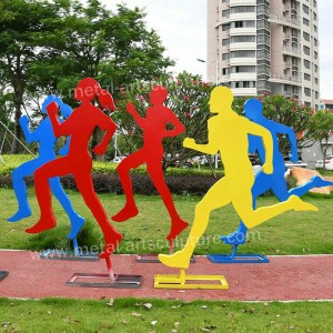 Contemporary Art Human Steel Sculptures For Outdoor Park Ornament