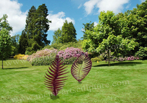 Leaf Design Corten Steel Sculpture With Rusty Naturally Finish For Outdoor Decor
