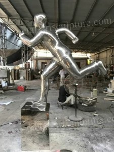 Stainless Steel Garden Ornaments Statues Art Style Abstract People Sculptures