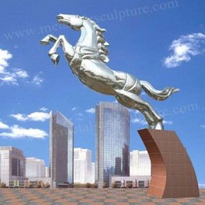 Life Size Outdoor Stainless Steel Horse Sculpture As City Art Decorative Statue