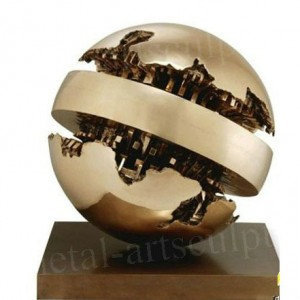 Fine Art Sculpture Metal Artwork Modern Art Amazing Globe Sculptures Golden Color