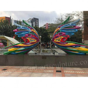 Metal Artistic Sculpture Human Body With Wings Painted Color as  City Landmark