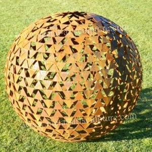 Finished Ball Corten Steel Sculpture