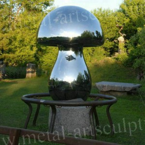 Large Outdoor Statues Stainless Steel Sculpture Mushroom Shape Lawn Decoration