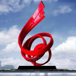 Modern Abstract Outdoor Art Sculptures Painted Red Finishing For Public Decor