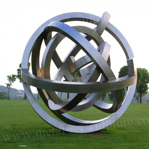 Matt Surface Ball Annular Metal Sculpture Stainless Steel As Lawn Ornament