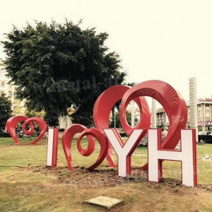 Metal Art Letters Stainless Steel Sculpture Painted Red Color For Park Decor
