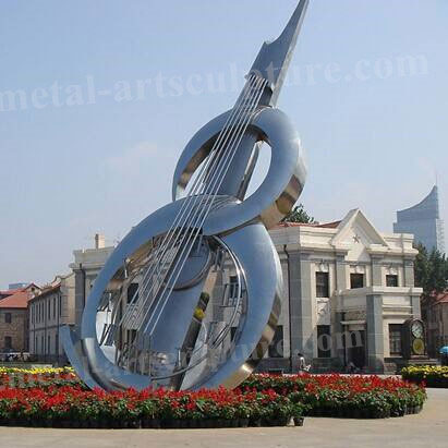 Outdoor Garden Stainless Steel Sculpture Violin Artistic Design For Decoration Featured Image