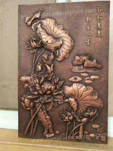 Painted Color Wall Relief Sculpture Fiberglass Material Service Customized