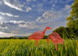Hand Contemporary Metal Sculpture Ostrich Animal Shape As Outdoor Ornaments