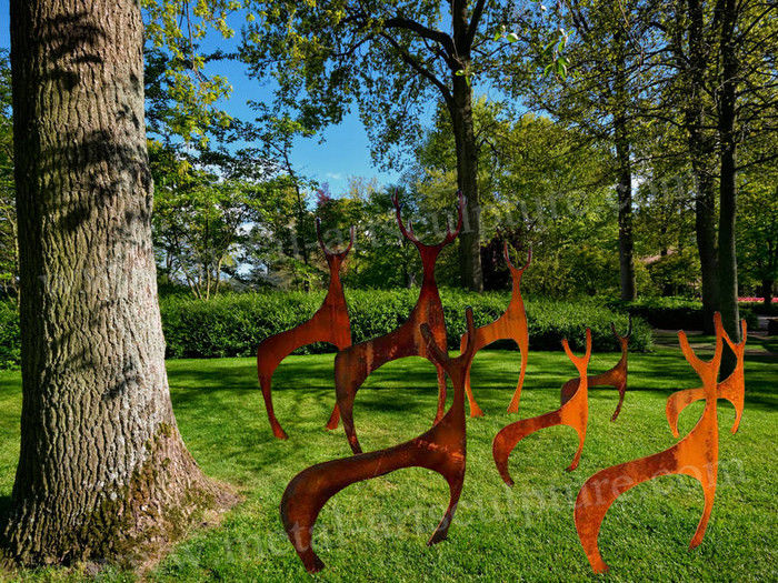 Abstract Art Deer Sculpture Rust Corten Steel Sculpture As Outdoor Decoration