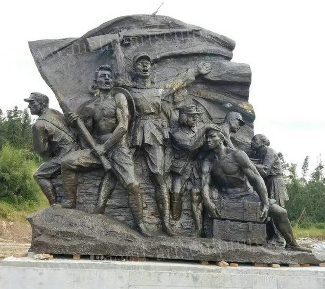 Bronze Color Wall Relief Sculpture Giant Soldiers Wall Art Decoration