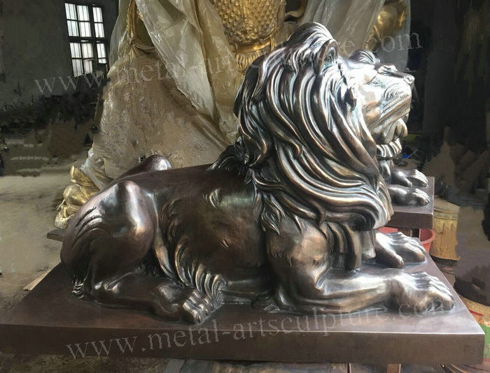 Contemporary Bronze Sculpture , Animal Style Small Bronze Lion Statue