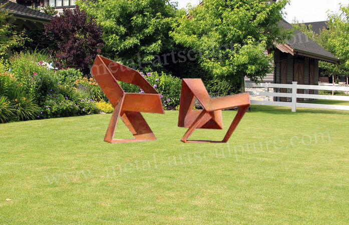 Irregular Art Corten Steel Sculpture With Original Rust Color As Yard Decoration
