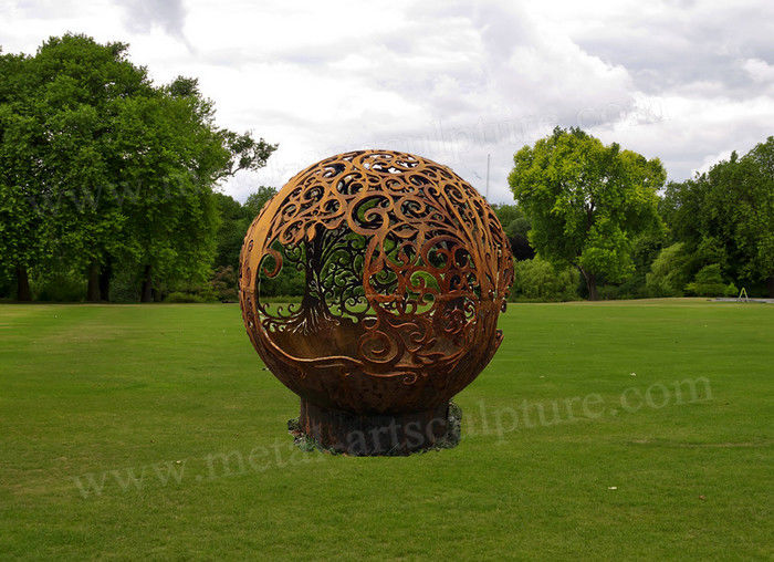 Life Size Metal Ball Corten Steel For Yard Decoration With Rust Surface