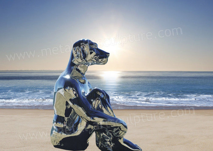 Polished Mirror Famous Abstract Sculptures Dog Animal Sculpture As Seaside Decor