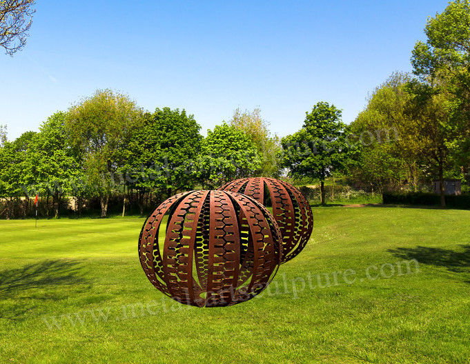 Amazing Ball Corten Steel Sculpture Rusty Surface As Outdoor Garden Decoration
