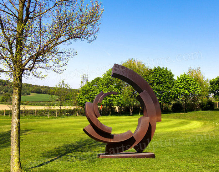 Rusty Round Circle Shape Corten Steel Statue As Outdoor Lawn Ornament