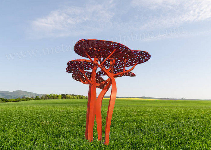 Contemporary Corten Sculpture With Umbrella Tree Shape As External Lawn Ornament
