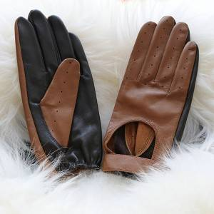 Ladies sheep leather driving gloves without lining