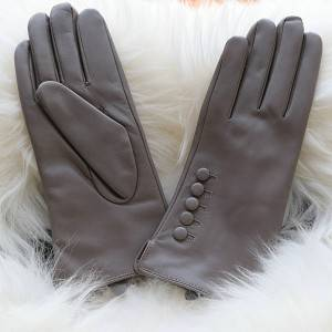 Factory source Pigskin Driving Gloves - Ladies sheep leather gloves with five buttons on back – Fanshen