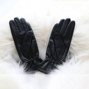 Ladies sheep leather gloves with Leather Strap Decoration