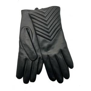 Ladies sheep leather gloves with wavy stitches