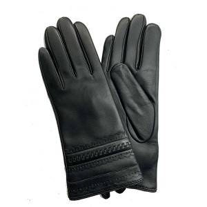 Ladies sheep leather gloves with lace leather o...