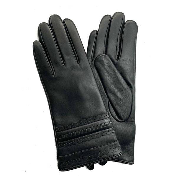 Ladies sheep leather gloves with lace leather on back Featured Image