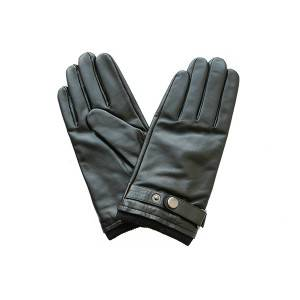 Men lamb/sheep leather cashemere lined gloves with natural black