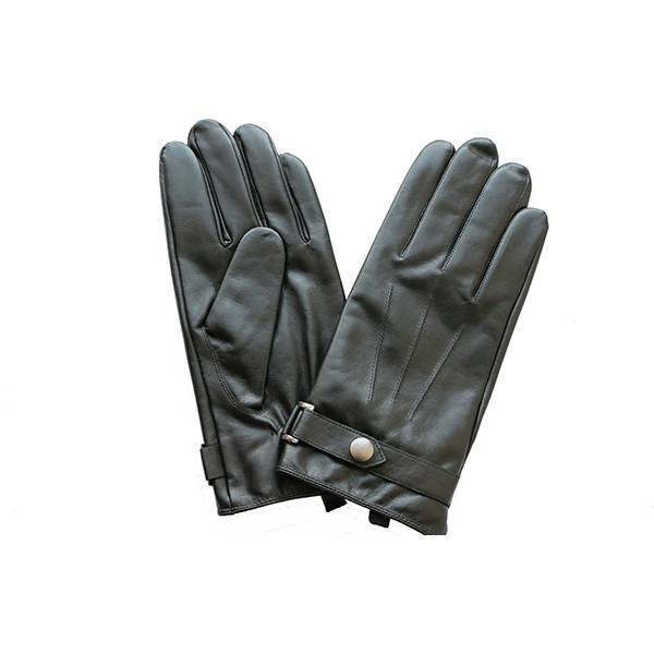 Men lamb/sheep leather fleece lined winter gloves with button Featured Image