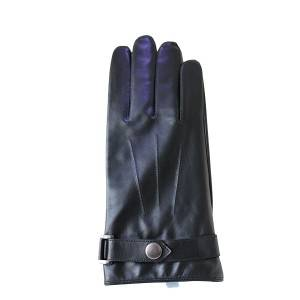 Men lamb/sheep leather fleece lined winter gloves with button
